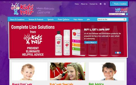 Screenshot of Home Page kidshairinc.com - Hair Salon for Kids, Children Haircuts | Kids Hair, MN - captured Sept. 19, 2014