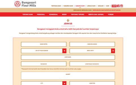 Screenshot of Signup Page bungasari.com captured Jan. 23, 2016