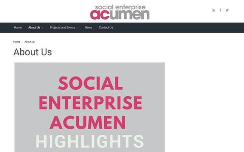 Screenshot of About Page socialenterpriseacumen.co.uk - About Us - - captured Dec. 18, 2016