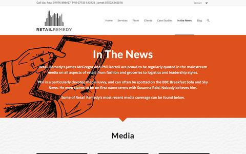 Screenshot of Press Page retailremedy.com - Retail Consultancy In The News - Retail Remedy - captured Jan. 23, 2016