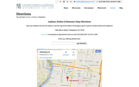 Screenshot of Maps & Directions Page lpglawyers.com - Directions - Lashner, Parker & Giannone - captured Oct. 2, 2014