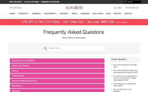 Screenshot of FAQ Page albarose.com - Frequently Asked Questions | Alba Rose Diamonds - captured May 29, 2017