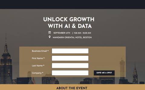 Screenshot of Landing Page lattice-engines.com - Unlock Growth - captured Aug. 31, 2017