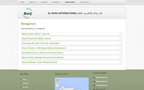 Screenshot of Team Page albarij.com - Management - Al Barij International LLC - captured Oct. 4, 2014