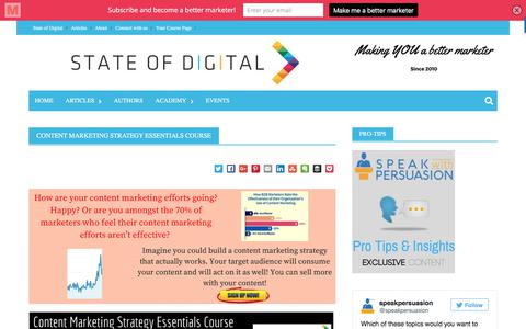 Screenshot of Signup Page stateofdigital.com - Content Marketing Strategy Essentials Course - State of Digital - captured June 17, 2017