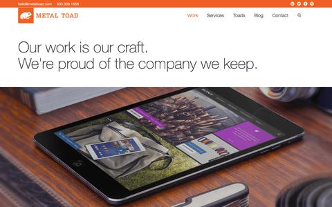 Screenshot of Case Studies Page metaltoad.com - Our Work | Metal Toad - captured Oct. 2, 2015