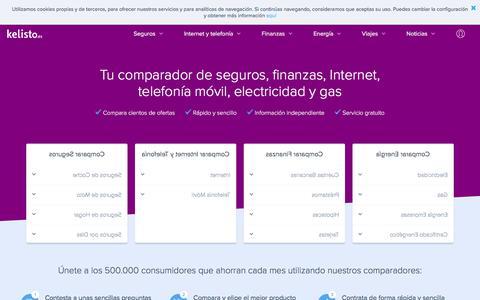 Screenshot of Home Page kelisto.es - Kelisto.es - Comparador de seguros, comunicaciones, finanzas y energía - captured Feb. 15, 2018