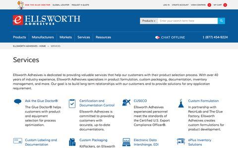 Screenshot of Services Page ellsworth.com - Services - captured July 9, 2017