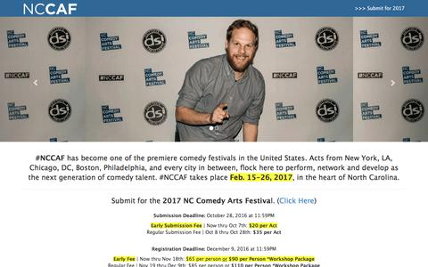 Screenshot of Home Page nccomedyarts.com - #NCCAF - NC Comedy Arts Festival - captured Dec. 2, 2016