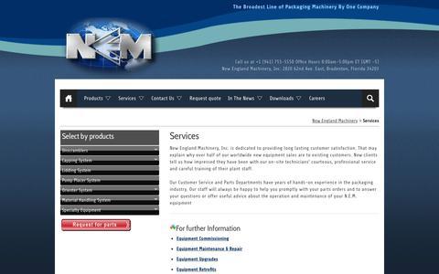 Screenshot of Services Page neminc.com - NEM service and support - captured Feb. 14, 2016