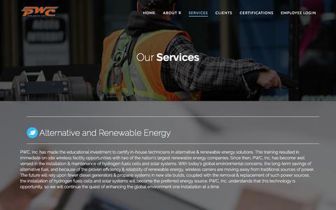 Screenshot of Services Page pwcinc.com - Services | PWCINC - captured Sept. 26, 2018