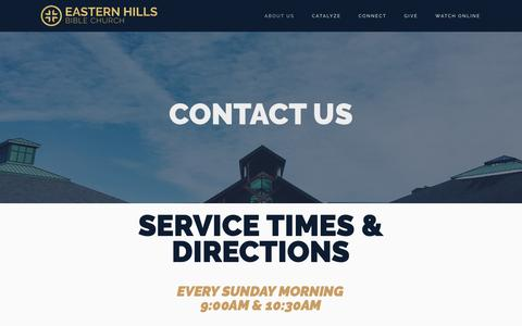 Screenshot of Contact Page easternhills.org - Time & Location — Eastern Hills Bible Church - captured Sept. 26, 2018