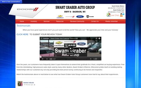 Screenshot of Testimonials Page swantgraber.com - Swant Graber Testimonials | Chevrolet, Dodge, Ram & Ford Car Dealer | Barron, WI - captured Oct. 6, 2014