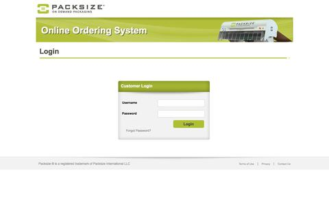Screenshot of Login Page packsize.com - Online Ordering System - captured Aug. 31, 2019