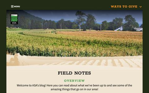 Screenshot of Blog agstewardship.org - Field Notes Blog - Agricultural Stewardship Association - Greenwich, NY - captured Oct. 3, 2018