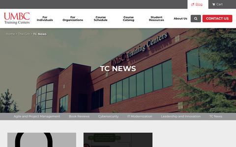 Screenshot of Press Page umbctraining.com - TC News Archives | UMBC Training Centers - captured May 19, 2019