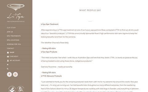 Screenshot of Testimonials Page litya.com - Testimonials - Li'Tya - captured July 15, 2018