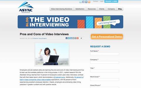 Screenshot of Blog asyncinterview.com - Video Interviewing Blog | Async Interview - captured Sept. 30, 2014