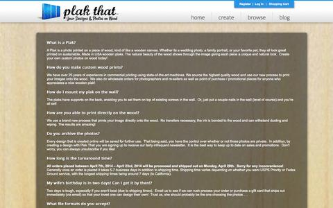 Screenshot of FAQ Page plakthat.com - FAQs - Plak That | Photos on Wood - captured Sept. 30, 2014