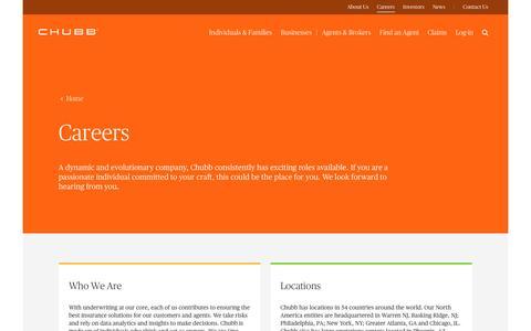 Screenshot of Jobs Page chubb.com - Careers at Chubb USA - captured July 29, 2016