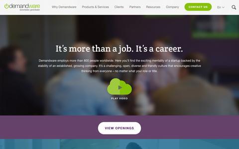 Screenshot of Jobs Page demandware.com - Demandware Careers - Cloud eCommerce Jobs | Demandware - captured Nov. 18, 2015