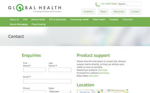Screenshot of Contact Page global-health.com - Global Health - Global Health | Contact Us - captured Sept. 28, 2018