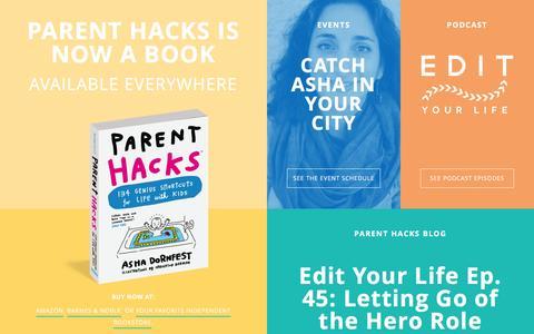 Screenshot of Home Page parenthacks.com - Parent Hacks - captured July 11, 2016