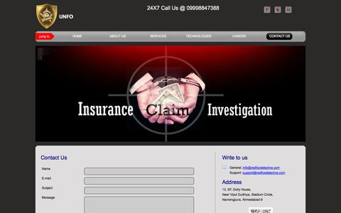Screenshot of Contact Page redfoxdetective.com - REDFOX DETECTIVE AND INVESTIGATION - captured Oct. 26, 2014
