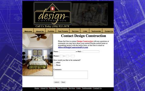Screenshot of Contact Page designconstructionfla.com - Design Construction - Contact Us - captured Oct. 5, 2014