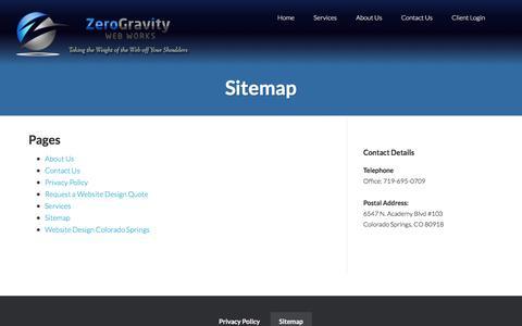 Screenshot of Site Map Page zerogravitywebworks.com - Sitemap - Zero Gravity Web Works - captured Nov. 12, 2017