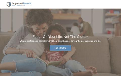 Screenshot of Home Page organizedbalance.com - Organized Balance - Professional Organizers in Pueblo, Colorado - captured Dec. 10, 2018