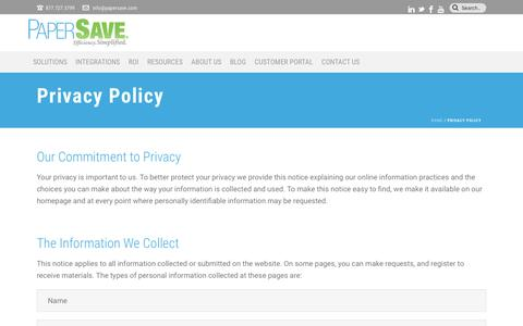 Privacy Policy | PaperSave