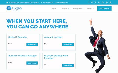 Screenshot of Jobs Page epikso.com - Epikso Inc. - Careers - captured July 10, 2018