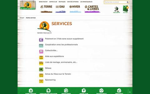 Screenshot of Services Page auvieuxcampeur.fr - Autres services - captured Oct. 31, 2014