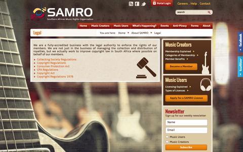Screenshot of Terms Page samro.org.za - Legal Documentation | SAMRO - captured Sept. 30, 2014