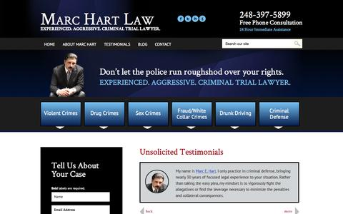 Screenshot of Testimonials Page marchartlaw.com - Testimonials | Marc Eric Hart P.C. | Detroit, Michigan - captured Nov. 3, 2014