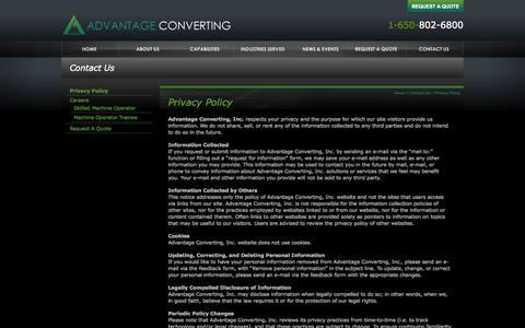 Screenshot of Privacy Page advantageconverting.com - Privacy Policy | Advantage Converting - captured Sept. 30, 2014