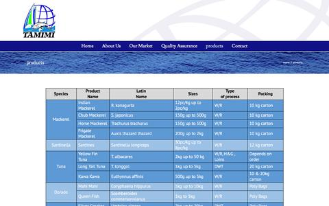Screenshot of Products Page tamimifish.com - Tamimi Fisheries Company   –  products - captured Feb. 23, 2016