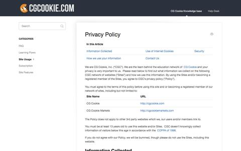Screenshot of Privacy Page cgcookie.com - Privacy Policy - CG Cookie Education Sites Support - captured Dec. 8, 2015