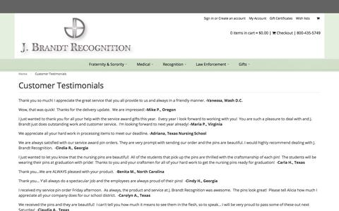 Screenshot of Testimonials Page jbrandt.com - JBrandt Recognition - Customer Testimonials - captured Sept. 29, 2017