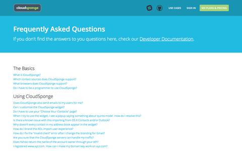Screenshot of FAQ Page cloudsponge.com - Frequently Asked Questions - captured Oct. 19, 2016