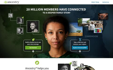 Screenshot of Home Page ancestry.com - Ancestry® | Genealogy, Family Trees & Family History Records - captured Oct. 4, 2019
