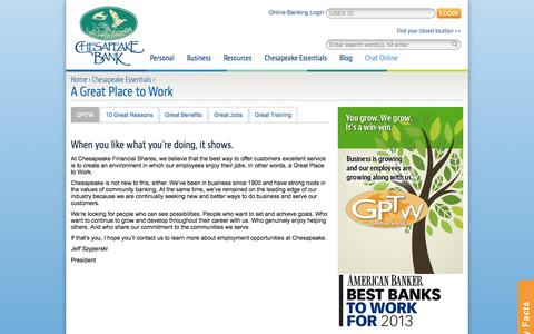 Screenshot of Jobs Page chesbank.com - A Great Place to Work :: Chesapeake Bank - captured Oct. 2, 2014