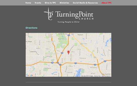 Screenshot of Maps & Directions Page tpckc.com - Directions — Turning Point Church - captured Feb. 16, 2016