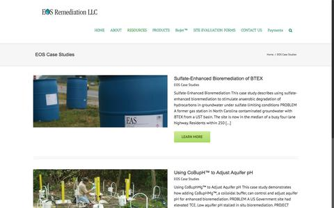 Screenshot of Case Studies Page eosremediation.com - EOS Case Studies Archives - EOS Remediation - captured July 15, 2018