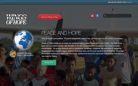 Screenshot of Home Page wings-of-hope.org - Start Page - captured Sept. 30, 2014