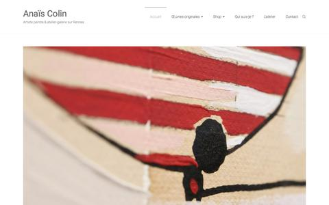 Screenshot of Home Page anaiscolin.com - Anaïs Colin | Artiste peintre & atelier-galerie sur Rennes - captured March 31, 2018