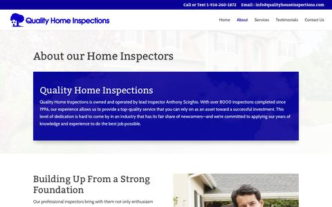Screenshot of About Page qualityhouseinspections.com - Home Inspectors | Westchester NY | Quality Home Inspections - captured Sept. 26, 2018