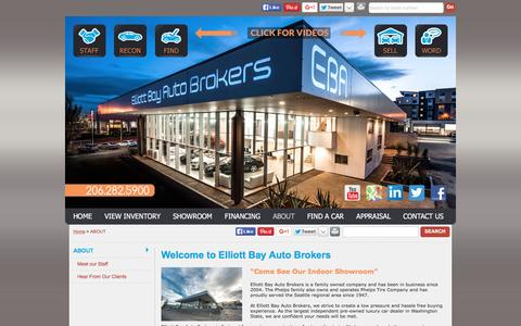 Screenshot of About Page Maps & Directions Page ebautobrokers.com - Elliott Bay Auto Brokers Serving Seattle, WA, Used Cars - Welcome to Elliott Bay Auto Brokers - captured Jan. 28, 2016