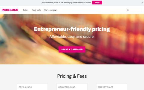 Screenshot of Pricing Page indiegogo.com - Indiegogo Pricing and Fees - Indiegogo - captured March 29, 2016